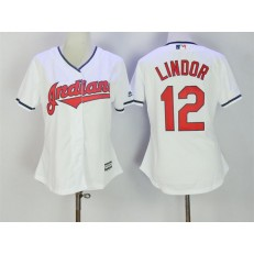 MLB Cleveland Indians 12 Francisco Lindor White Home Stitched Women Jersey